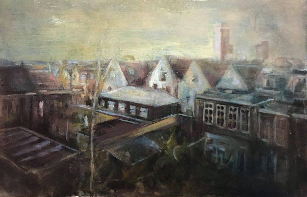 85 x 120 cm, © 2018, prijs op aanvraag Tweedimensionaal | Schilderkunst | Olieverf | Op doek Stadslandschap  'de achterkant '